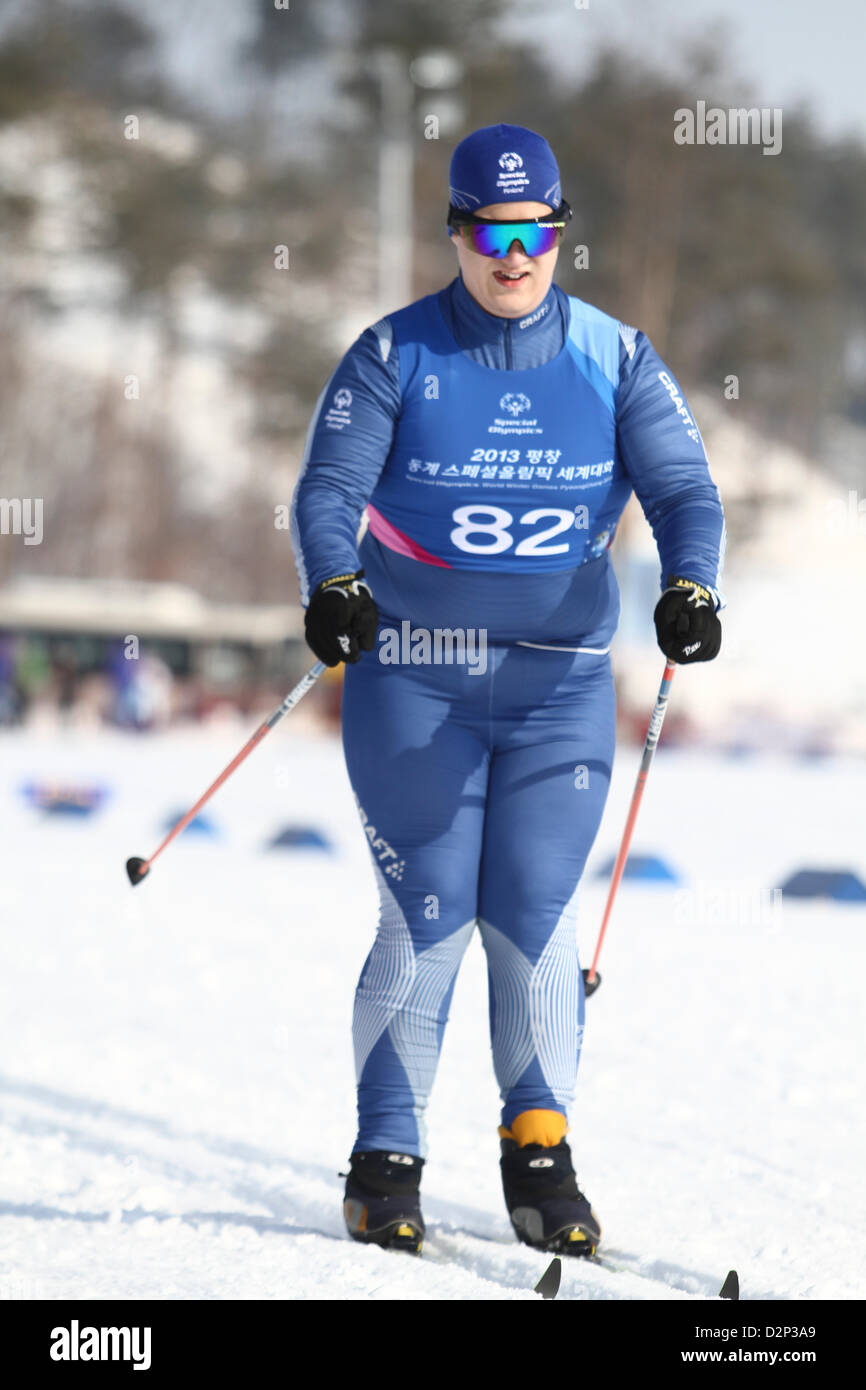 Pyeongchang, South Korea. January 30th 2013. Young Athletes of Cross Country perform During the1st day  at the World - Stock Image