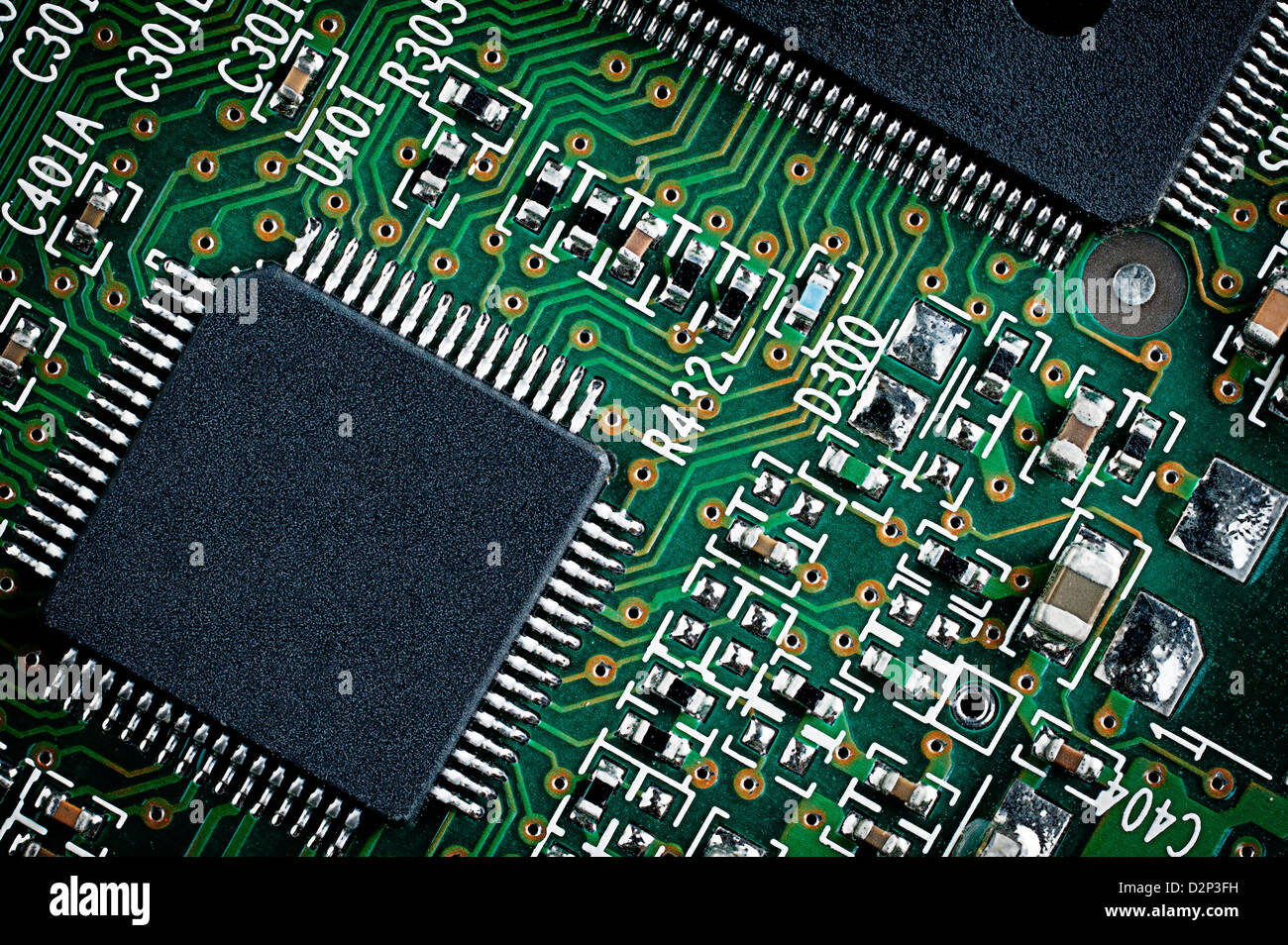 Printed Circuit Board Green Electronic Stock Photos Stockfoto Pcb Used In Industrial Microchip On Close Up Macro Detail Image