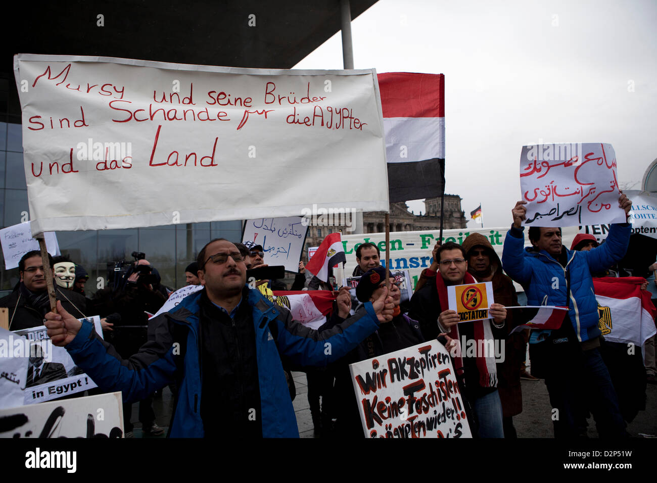 Berlin, Germany. 30th January 2013. Protests in front of the German chancellery during the visit of Egypts President - Stock Image