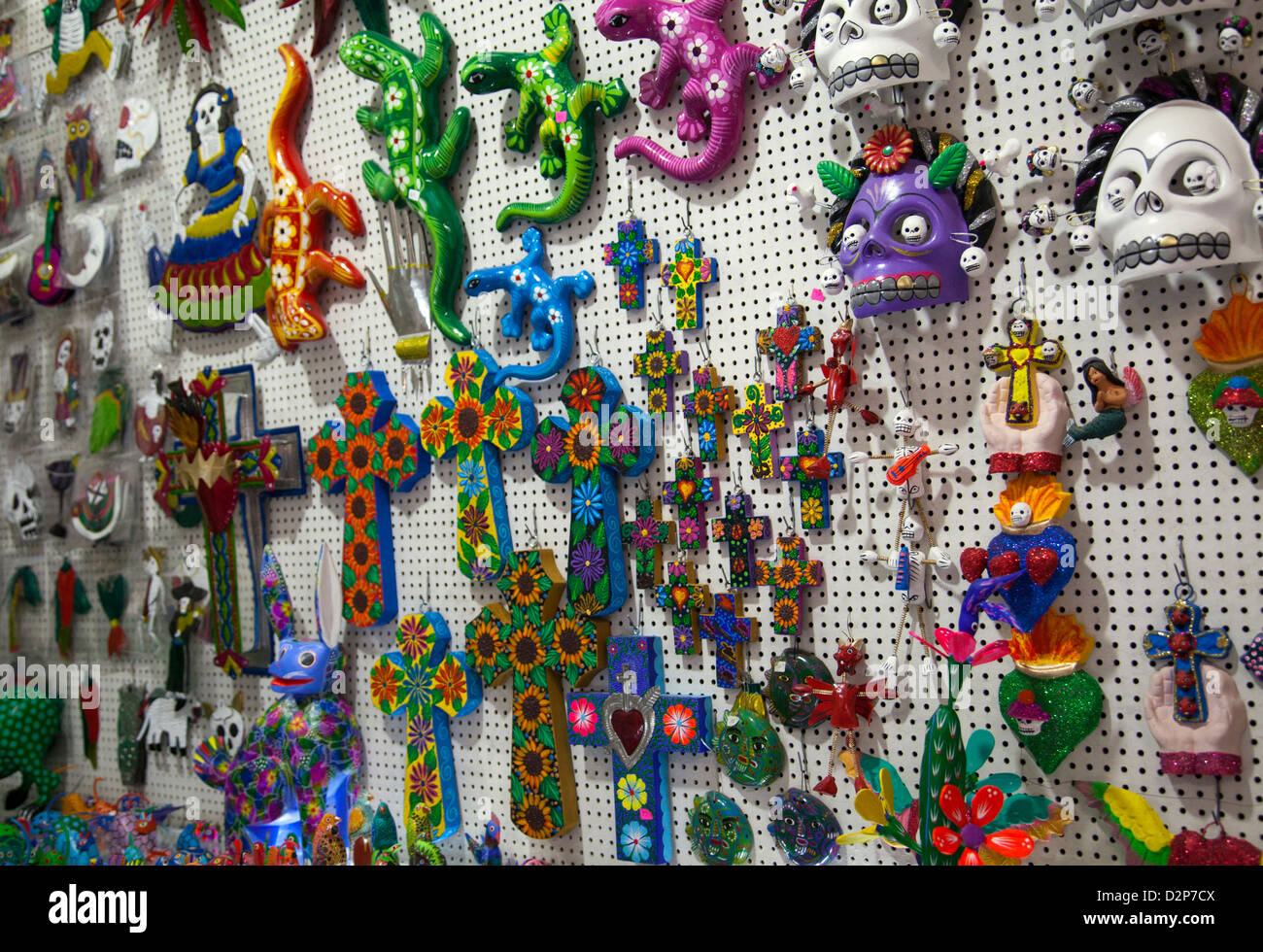 Stall Selling Crafts At Mercado Artesanias In Oaxaca Mexico Stock