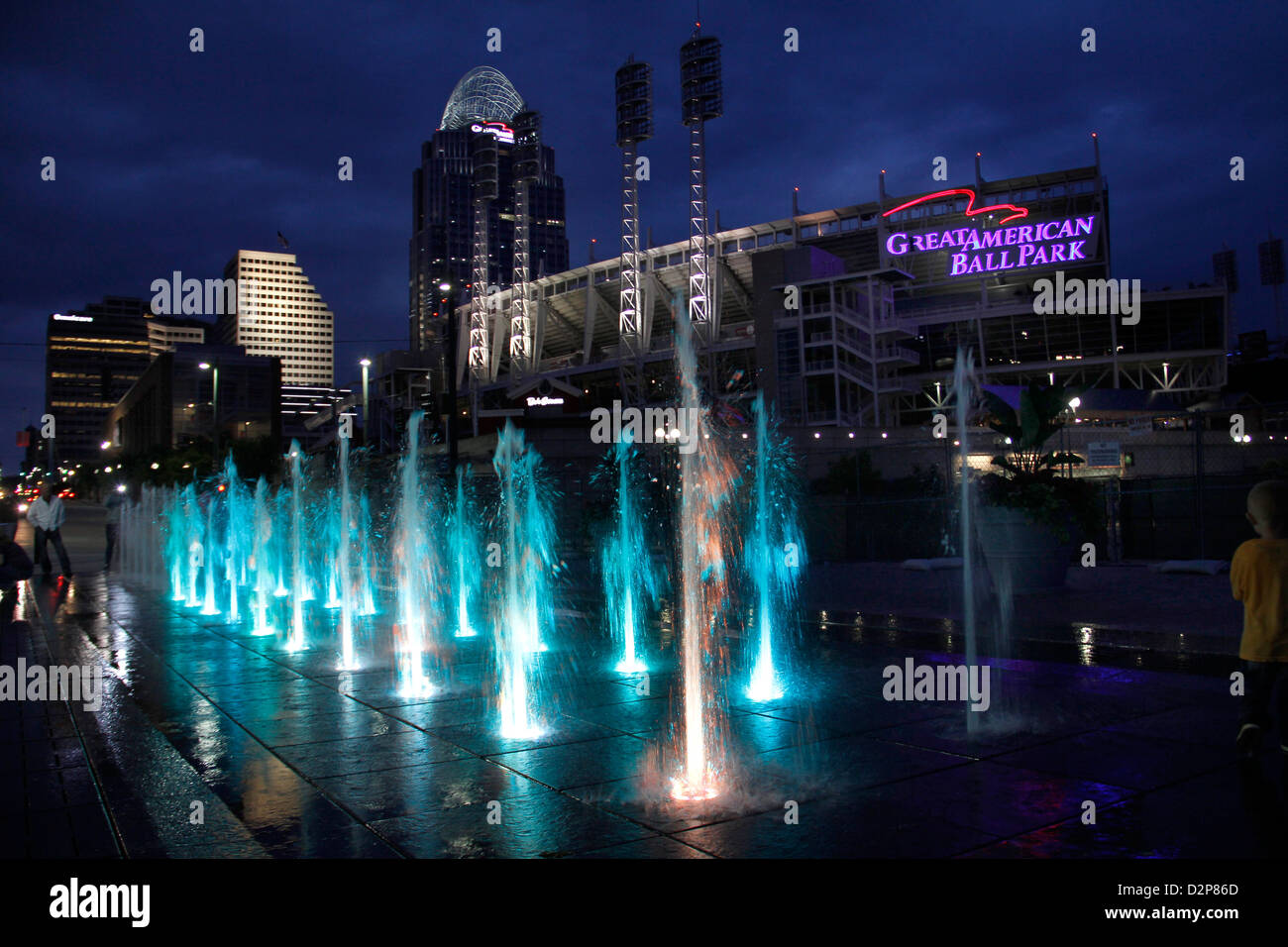 fountains at The Banks park downtown Cincinnati Ohio reds baseball river entertainment  Great American Ballpark Stock Photo