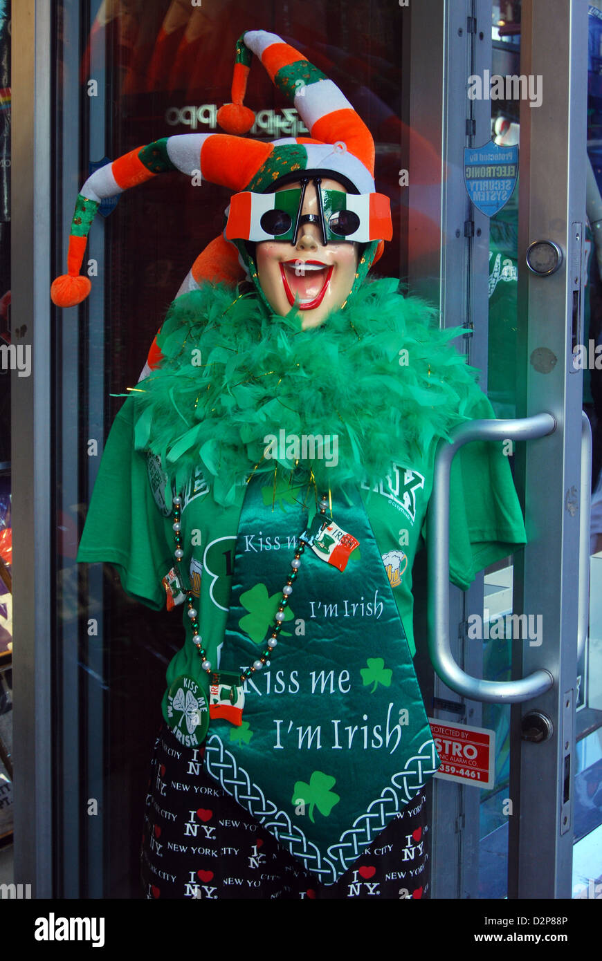 Statue outside of a store in Midtown Manhattan for St. Patrick's Day Stock Photo