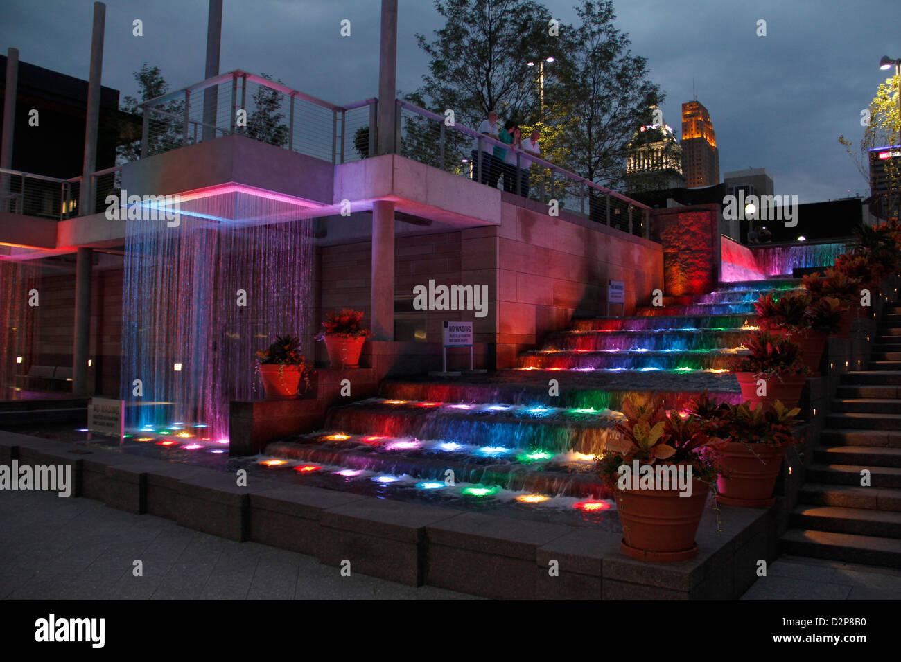 fountains at The Banks park downtown Cincinnati Ohio reds baseball river entertainment  Great American Ballpark Stock Photo
