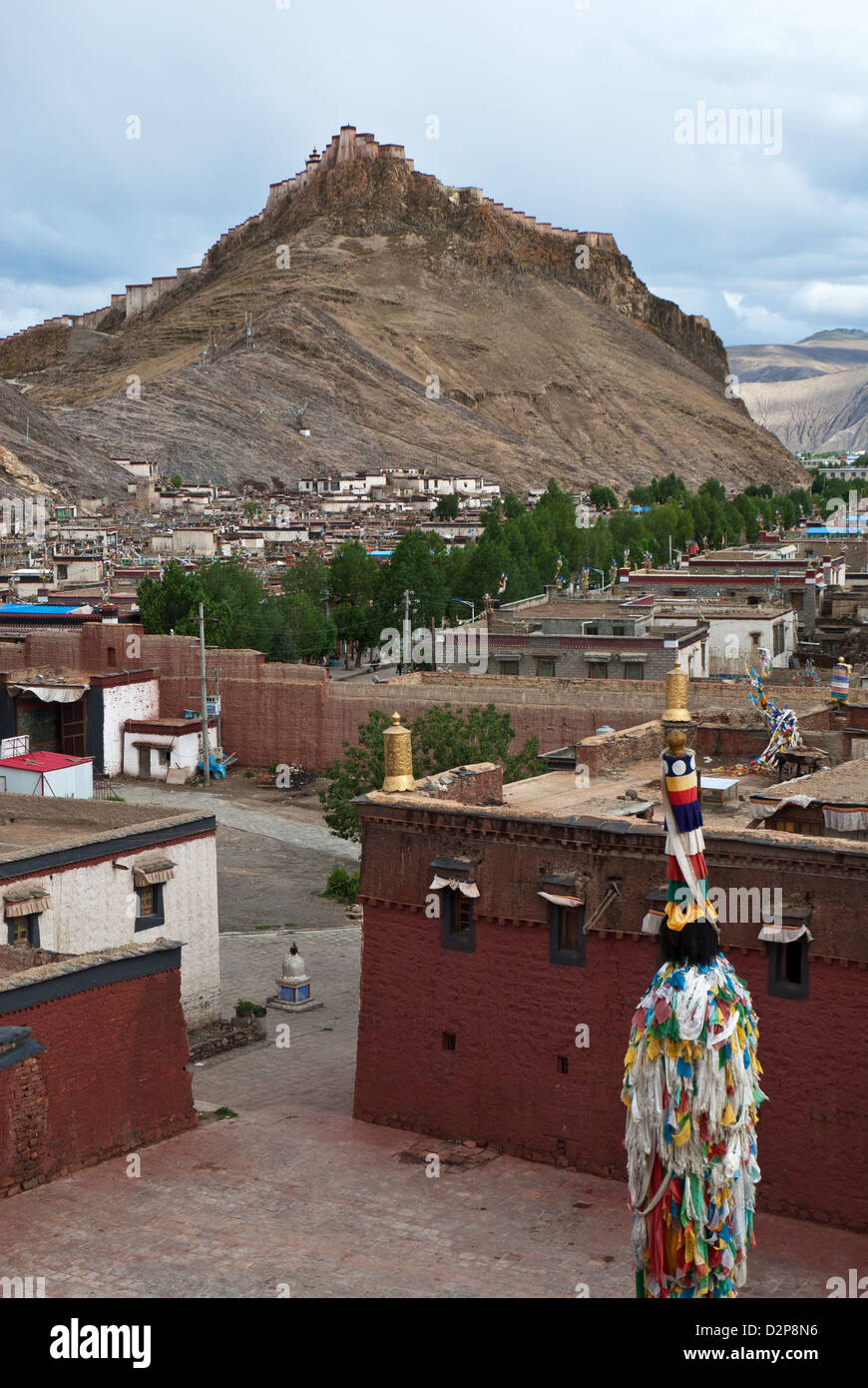 Town Gyantse from Palcho Monastery with Fort Gyantse Dzong, Nyang Chu valley, Tibet, China - Stock Image