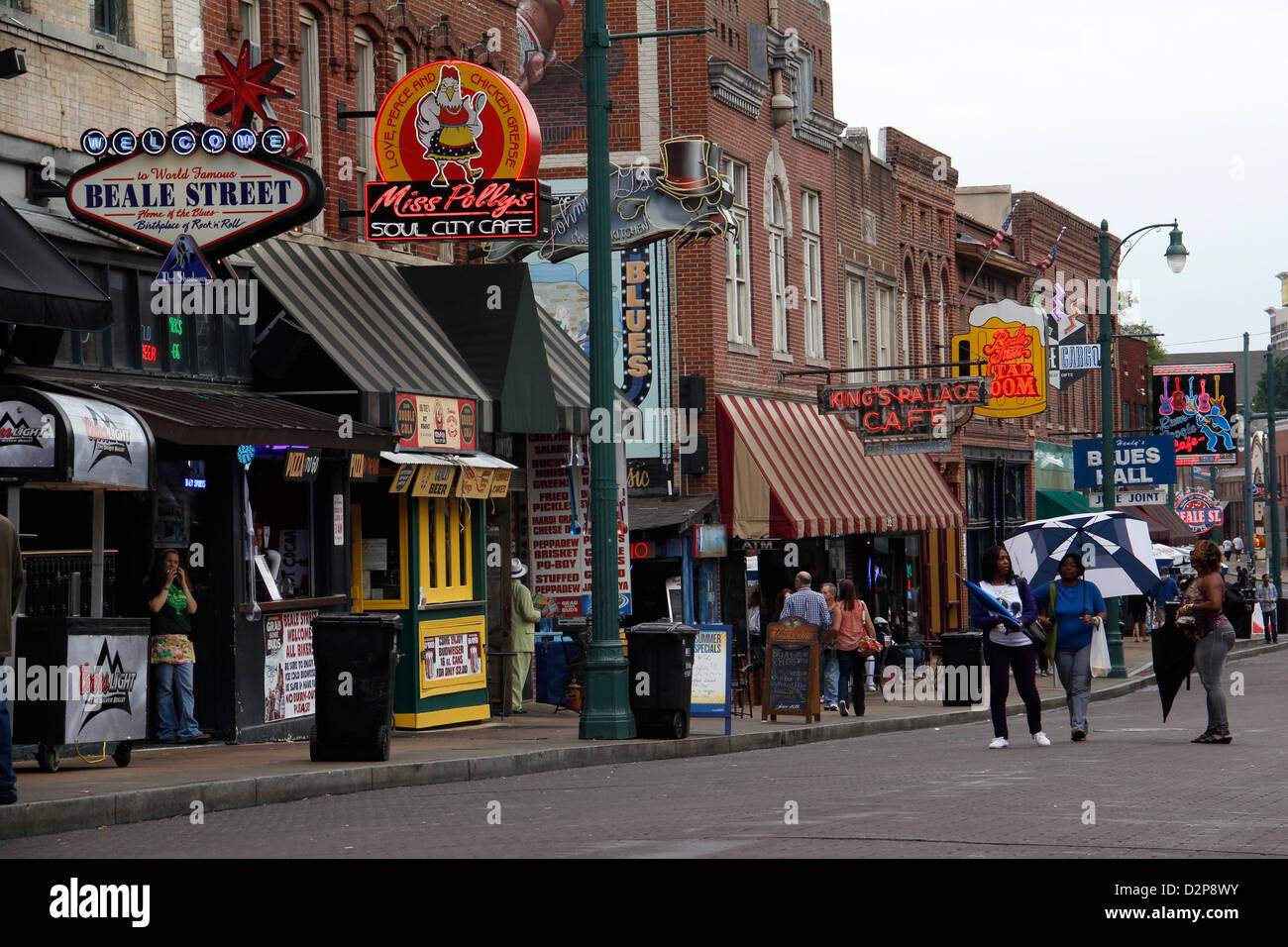 Beal street entertainment district downtown Memphis Tennessee - Stock Image