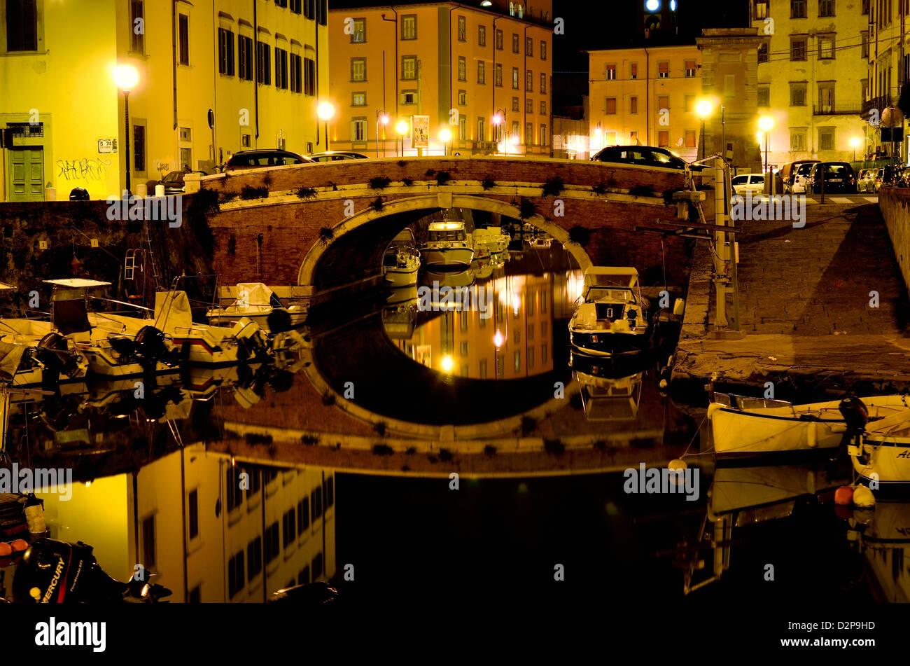 La Venezia Nuova is the centre of the town of Livorno - Stock Image
