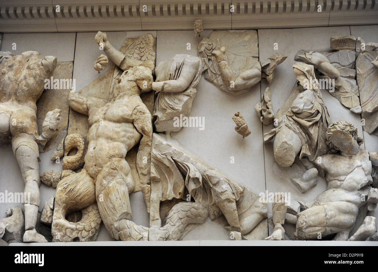 Pergamon Altar. North frieze. Orion and Enyo. Pergamon Museum. Berlin. Germany. - Stock Image