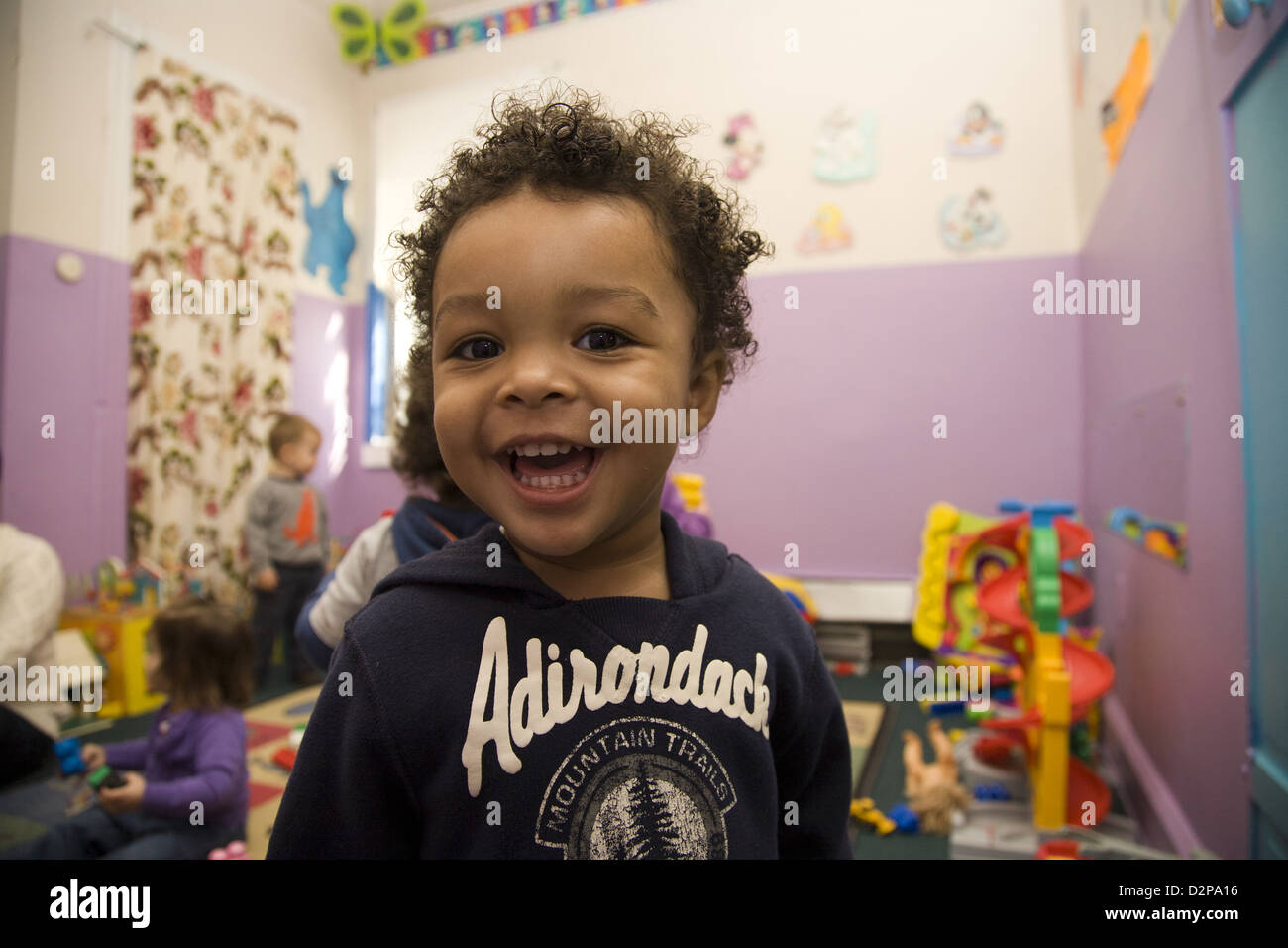 Kids Are Us Nursery school/early learning center in the highly multicultural Kensington neighborhood of Brooklyn, - Stock Image