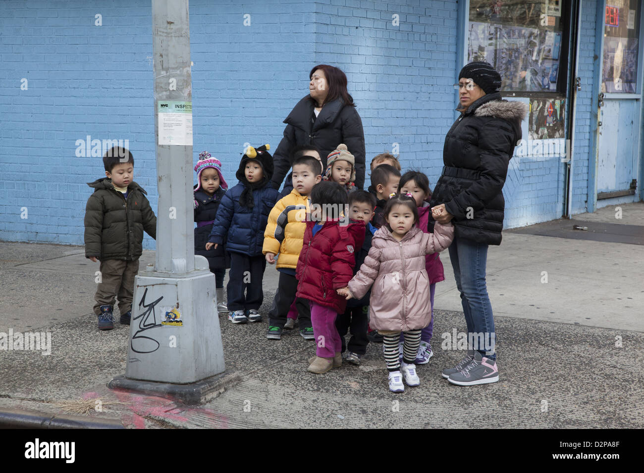 Nursery school/ day care on the Lower East Side of Manhattan. Walking in the neighborhood. - Stock Image