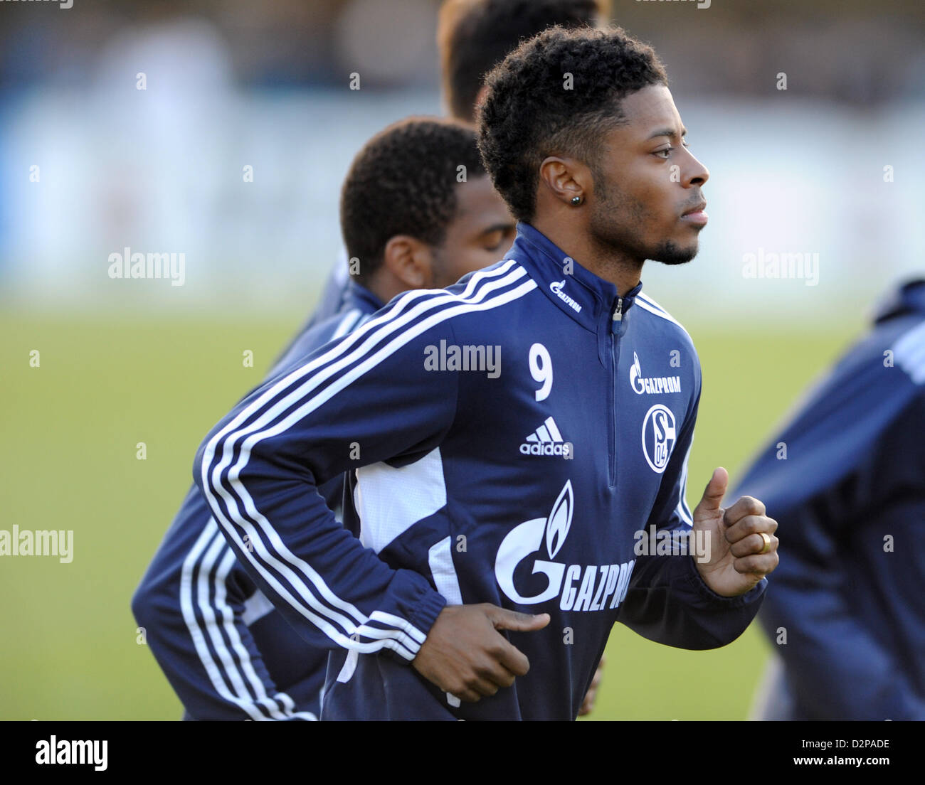 New acquisition of Bundesliga soccer club Schalke 04, Michael Bastos, takes part in a training session of Schalke - Stock Image