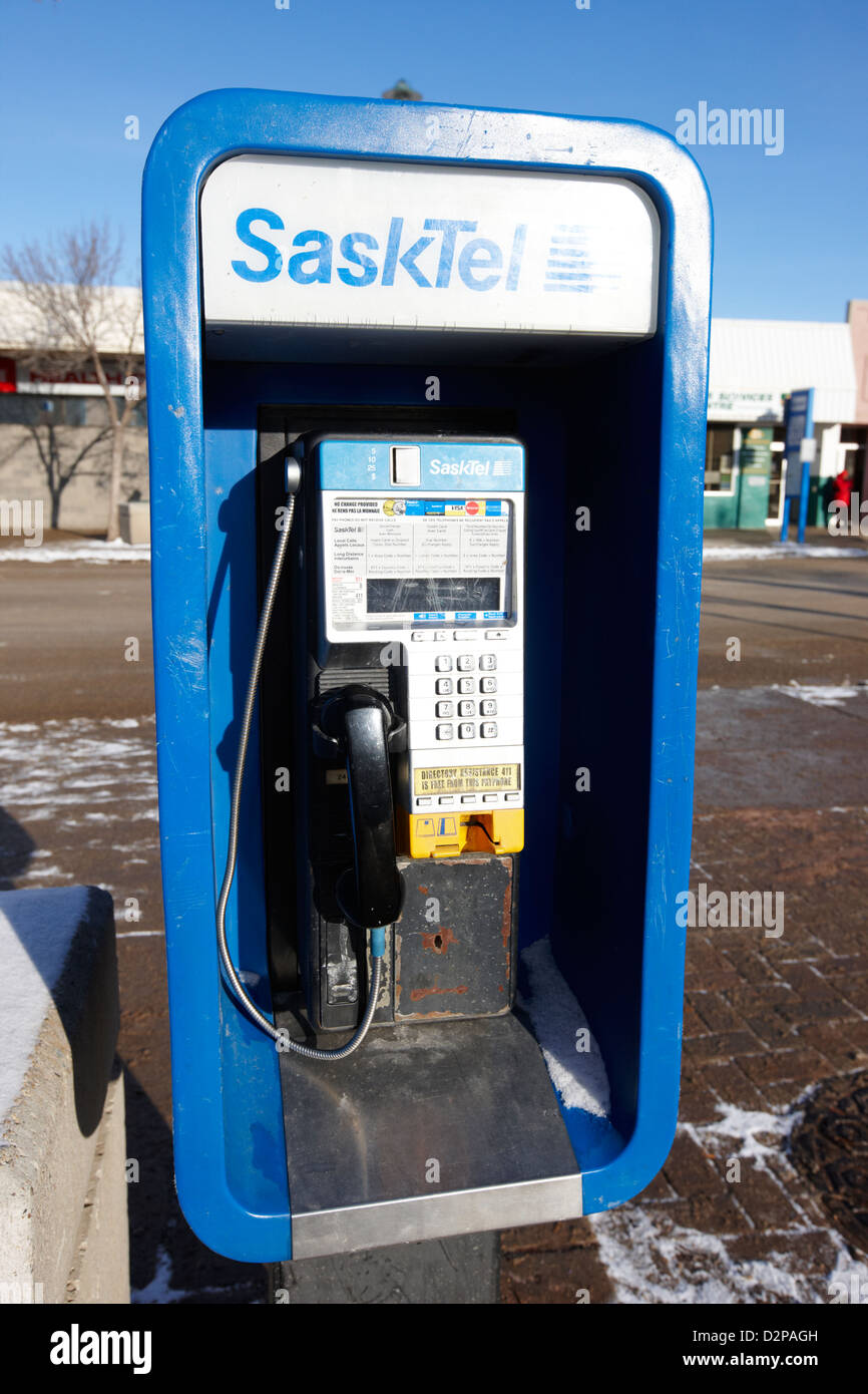 sasktel public payphone Saskatoon Saskatchewan Canada - Stock Image