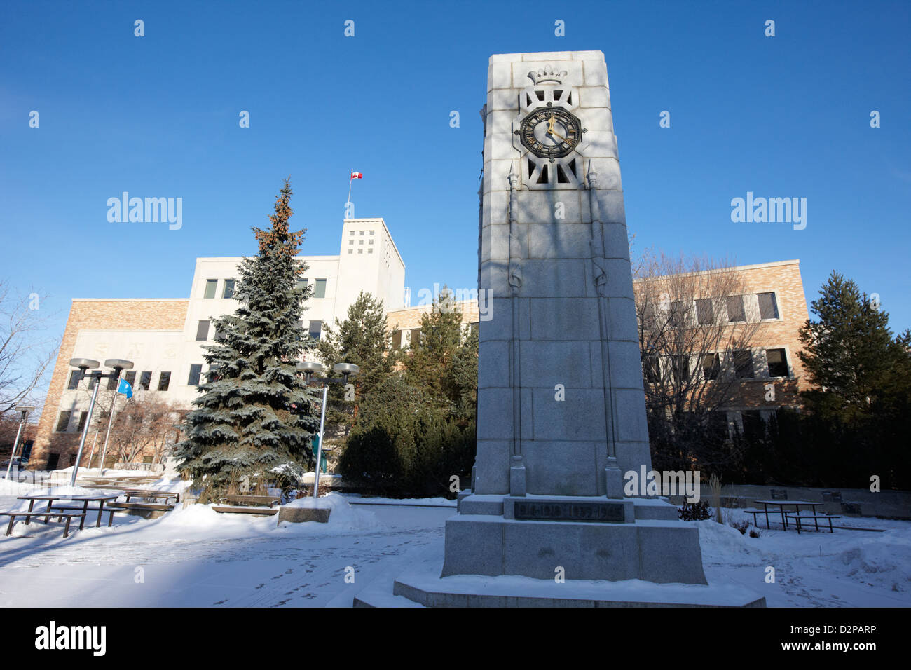 cenotaph war memorial in Saskatoon city hall Saskatchewan Canada - Stock Image