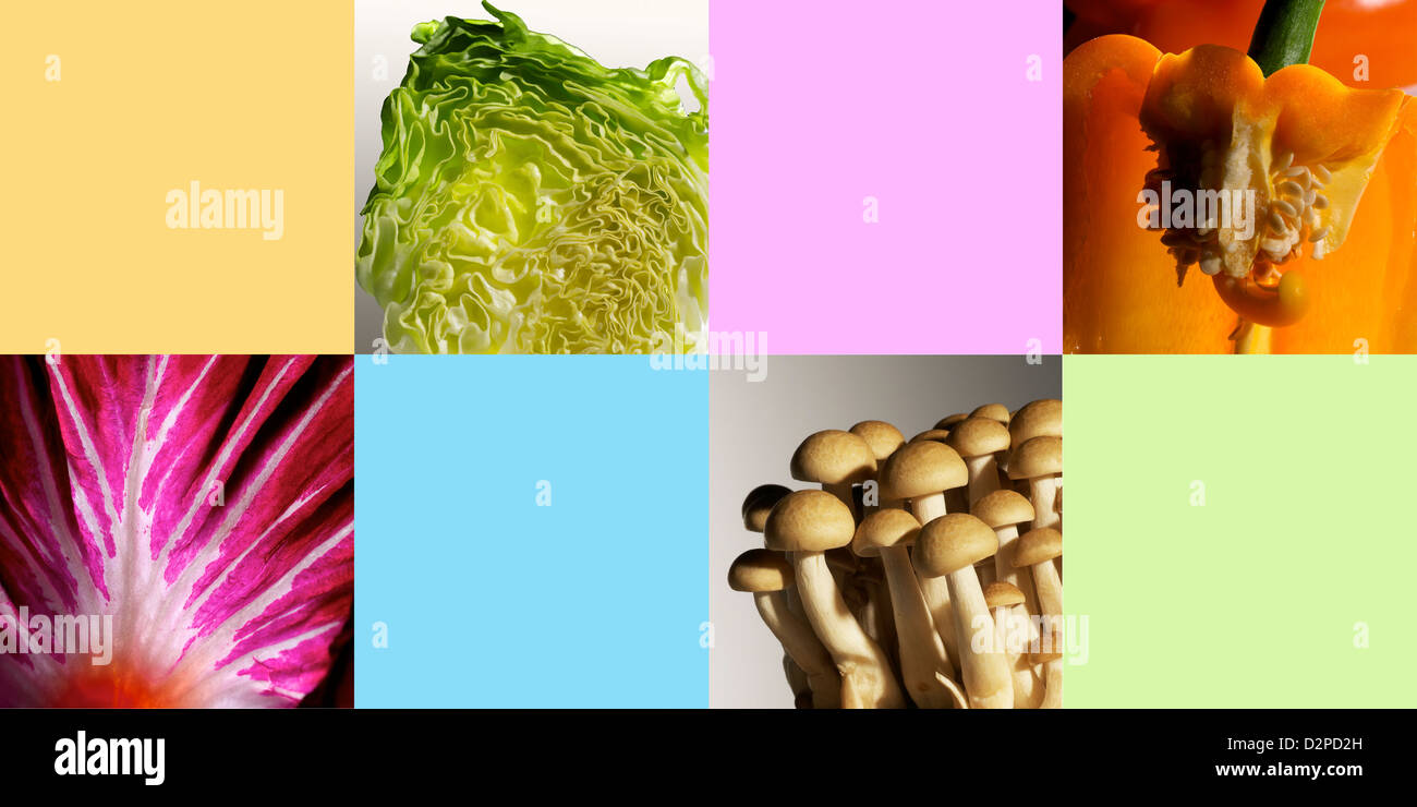 Creative collage of vegetables and color blocks - Stock Image