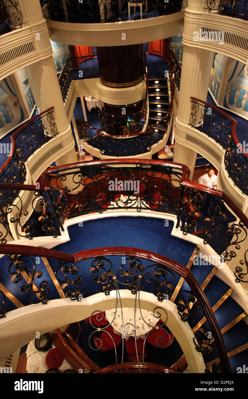 The most ornate and colourful entrance to the Dining room on board a Cruise sailing ship - Stock Image