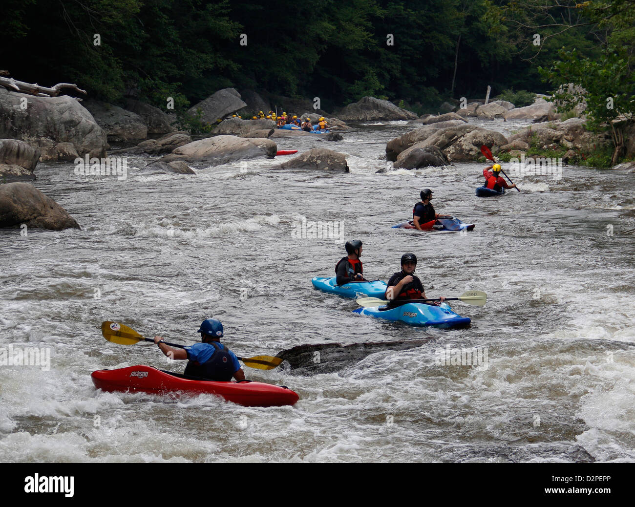 Kayaker Upper Youghiogheny River Maryland whitewater rapids - Stock Image