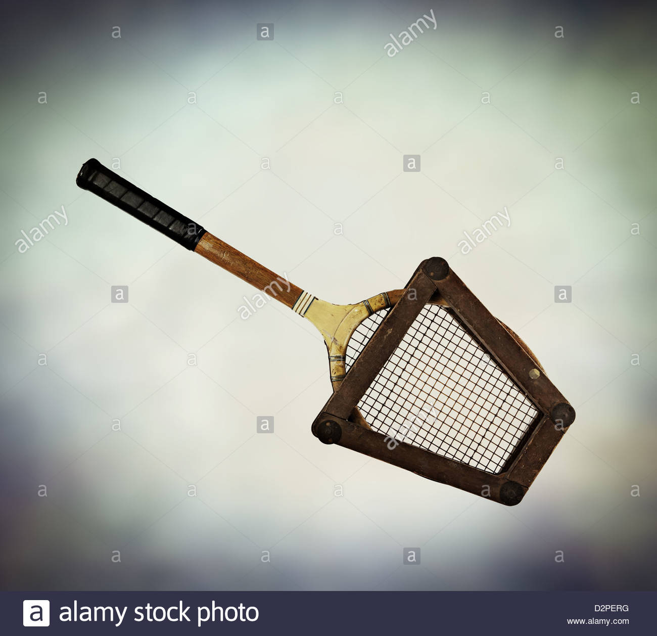 old fashioned tennis racket - Stock Image