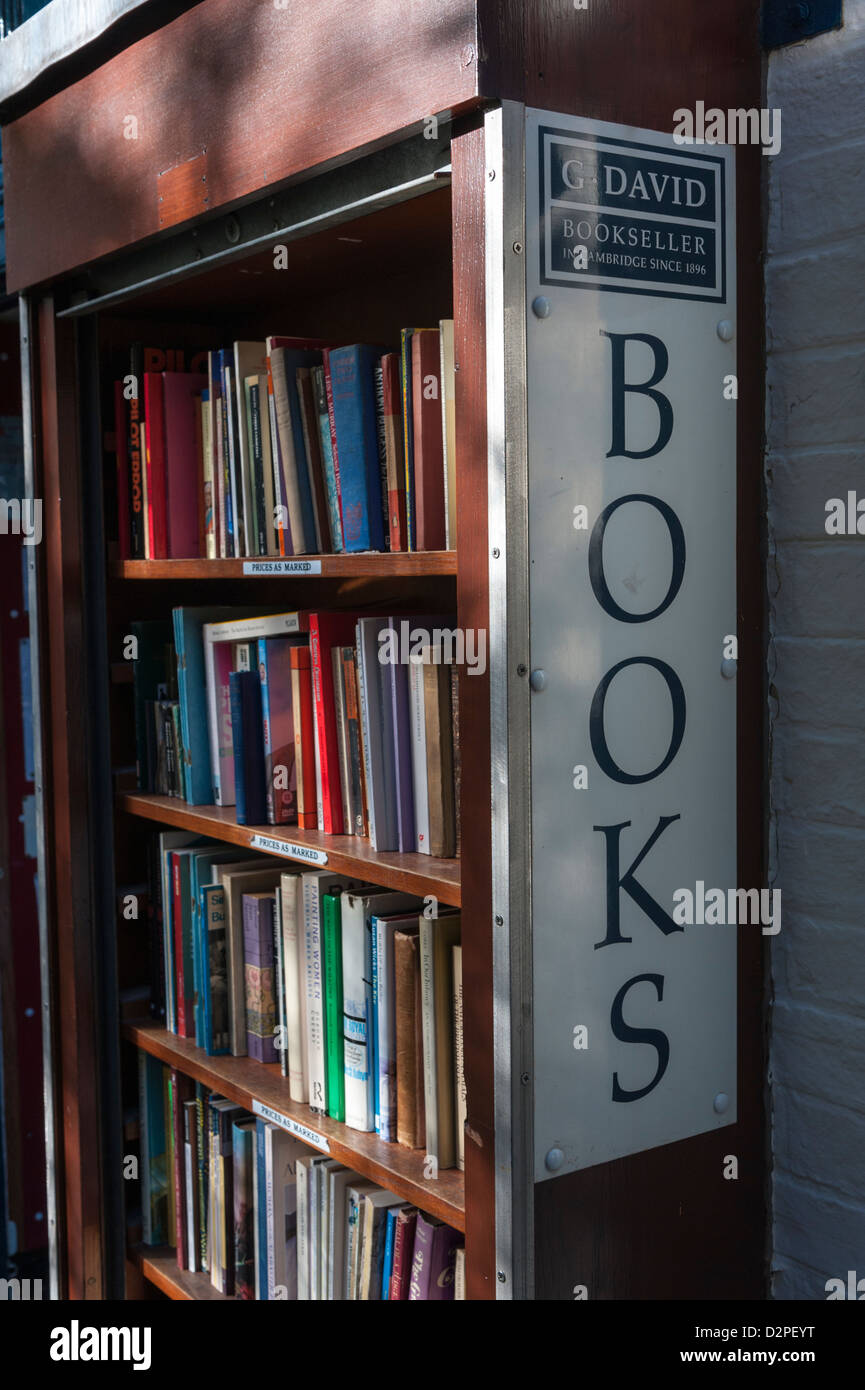 A secondhand book stand at David's Bookshop St Edwards Passage Cambridge UK with books for sale - Stock Image