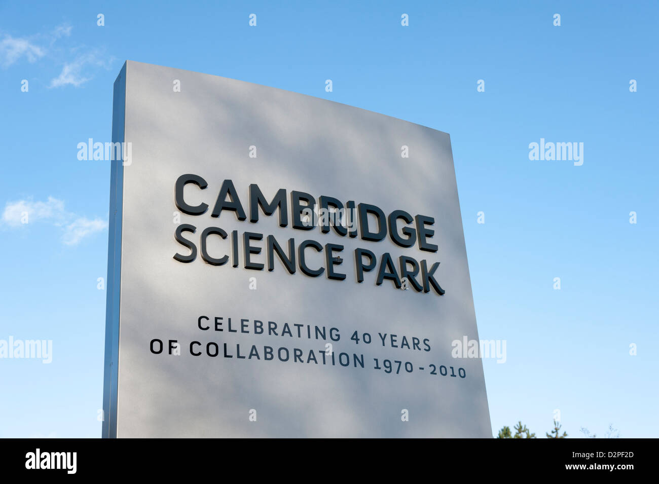 The Cambridge Science Park entrance sign Milton Road Cambridge UK. Founded in 1970 by Trinity College part of the - Stock Image