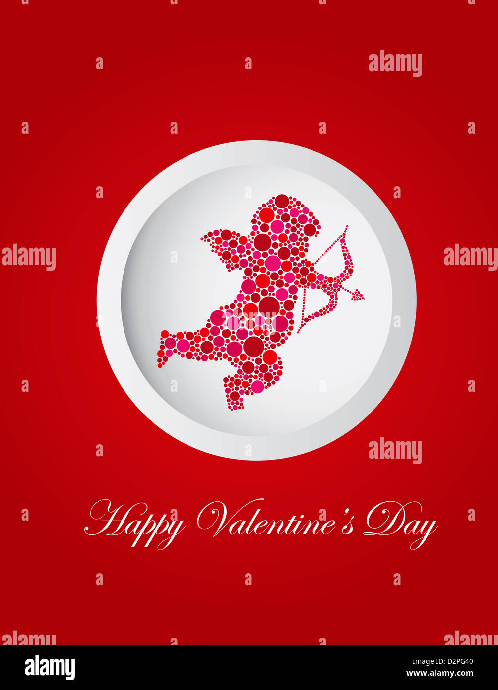 Happy Valentines Day Love Cupid With Bow And Arrow Silhouette Filled