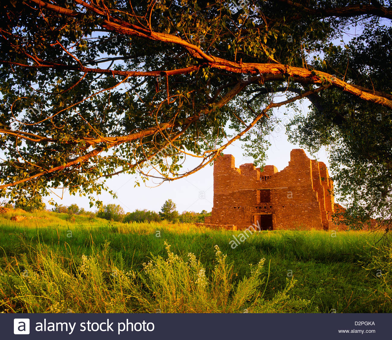Church at Quarai, Spanish mission, founded by Franciscans in 1626. Salinas Pueblo Missions National Monument, New - Stock Image