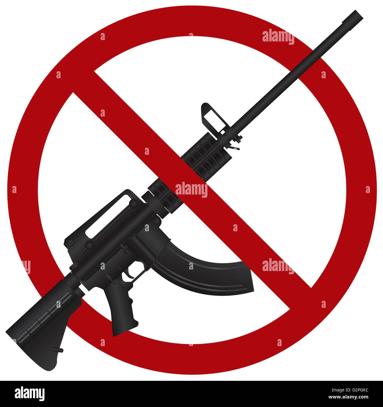 Assault Rifle AR 15 Gun Ban Symbol Isolated on White Background Illustration - Stock Image
