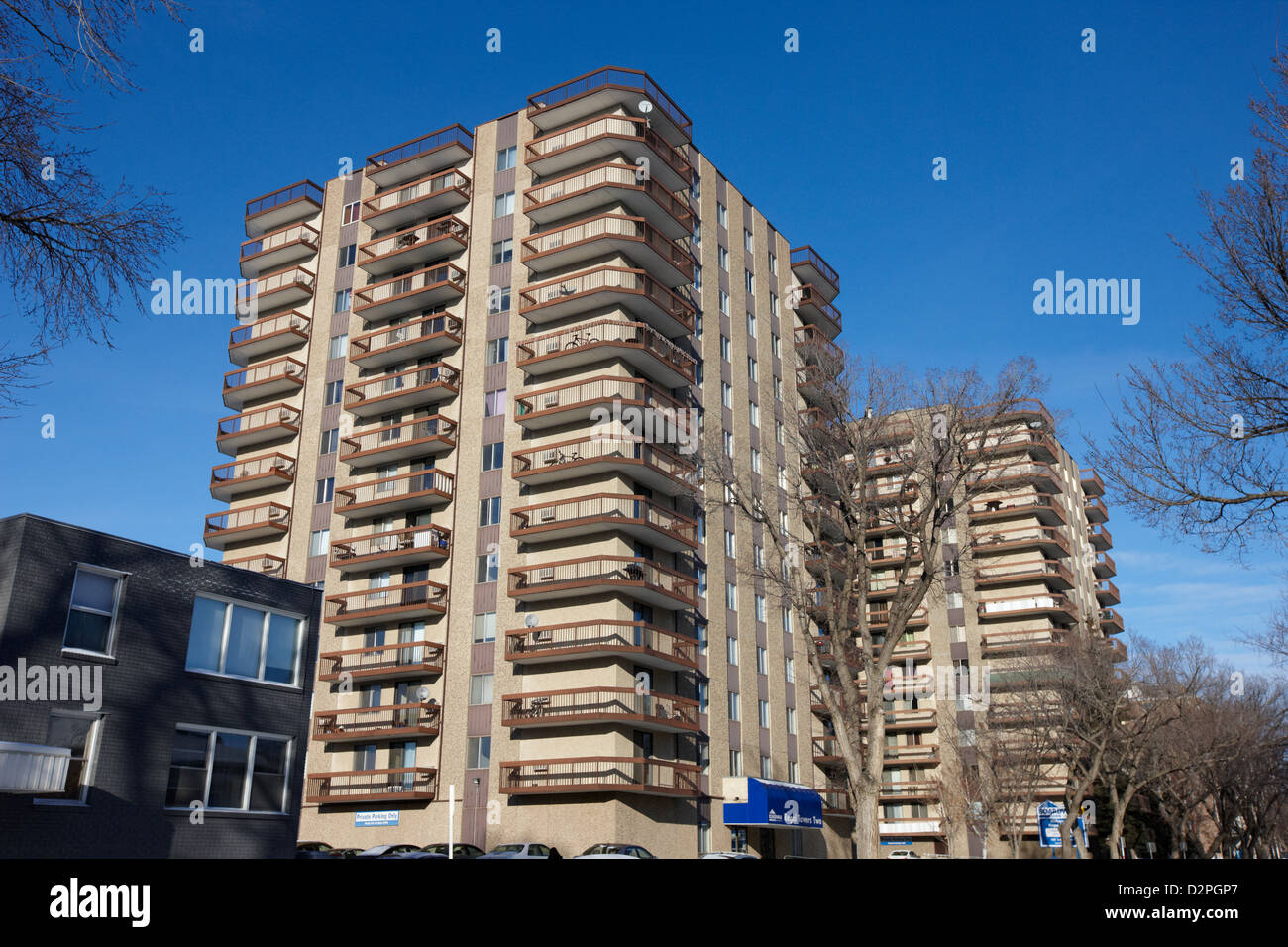 regal towers high rise apartment blocks Saskatoon Saskatchewan Canada - Stock Image