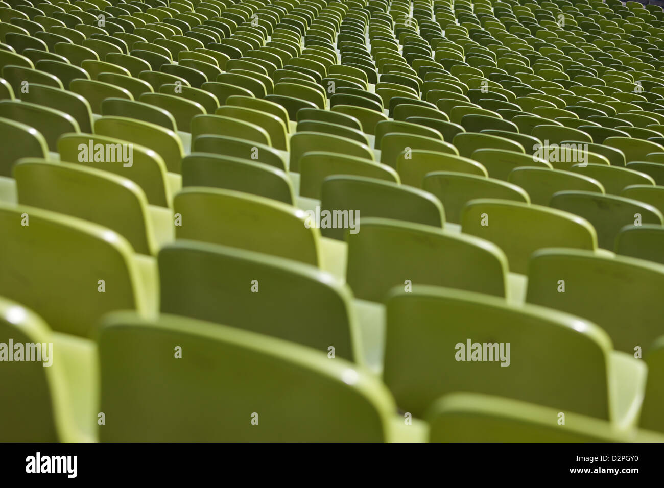 Munich, Germany, Olympiastadion rows of seats in the Olympic Park - Stock Image