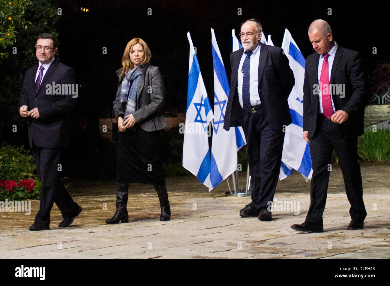 Incumbent Member of outgoing Knesset, David Rotem (2nd right), representing Likud-Beitenu, is escorted into the - Stock Image