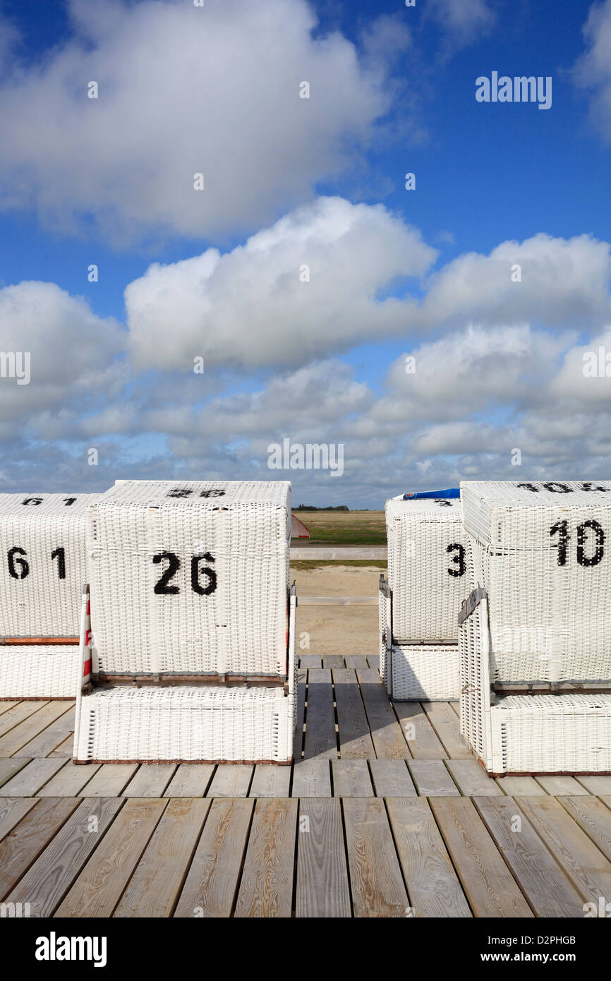 Sankt Peter-Ording, Germany, on the beach Strandkoerbe - Stock Image