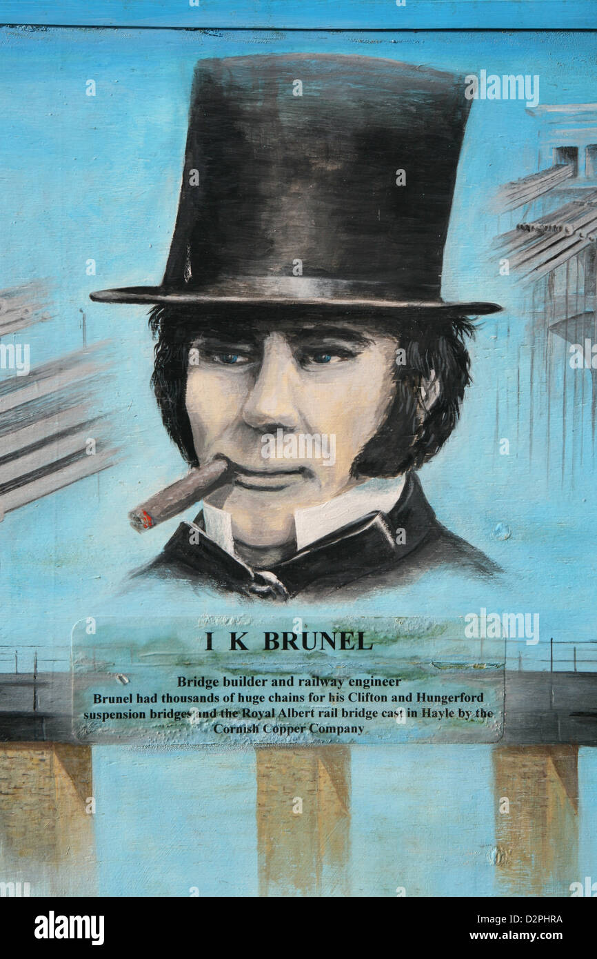 Isambard Kingdom Brunel  commemorated in Hayle Cornwall - Stock Image