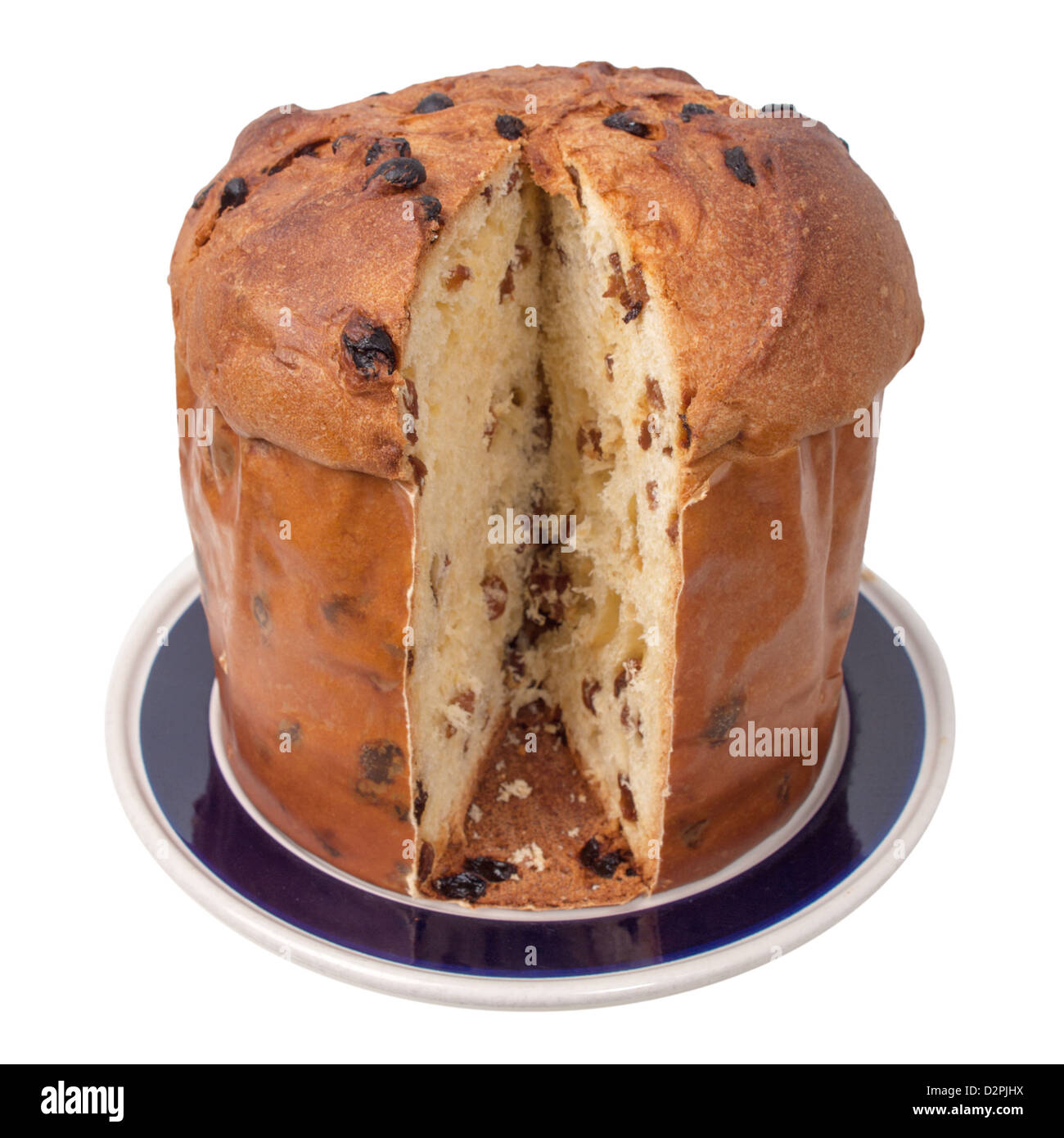Panettone - Christmas sweet bread loaf from Milan in Italy - isolated over white background - Stock Image