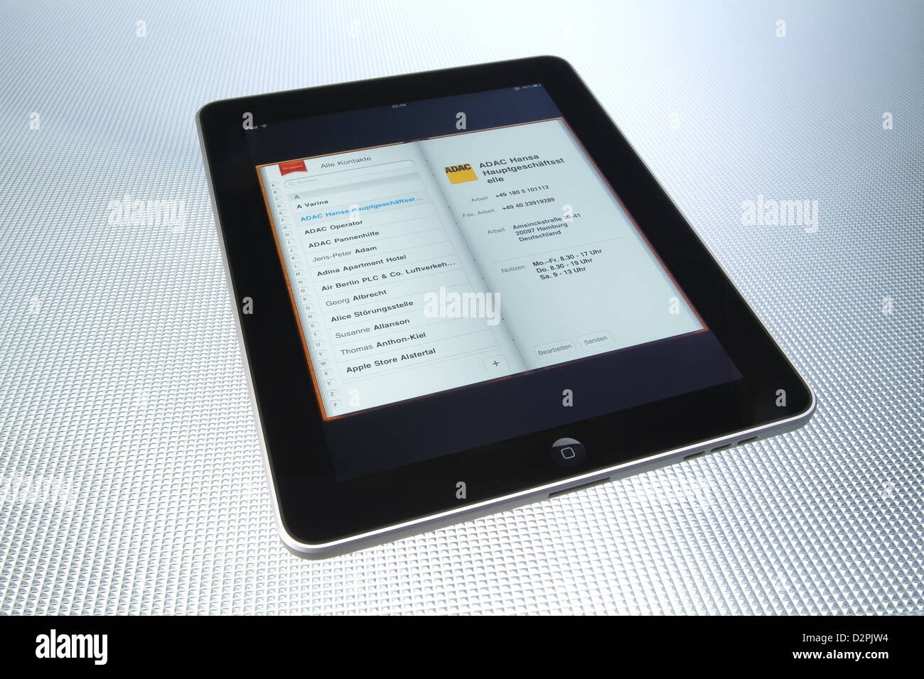 Hamburg, Germany manage, with the iPad from Apple Addresses and contacts - Stock Image