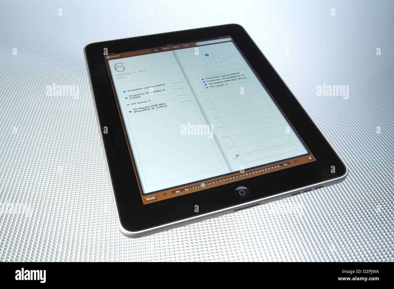 Hamburg, Germany app, the iPad from Apple Calendar appointments - Stock Image