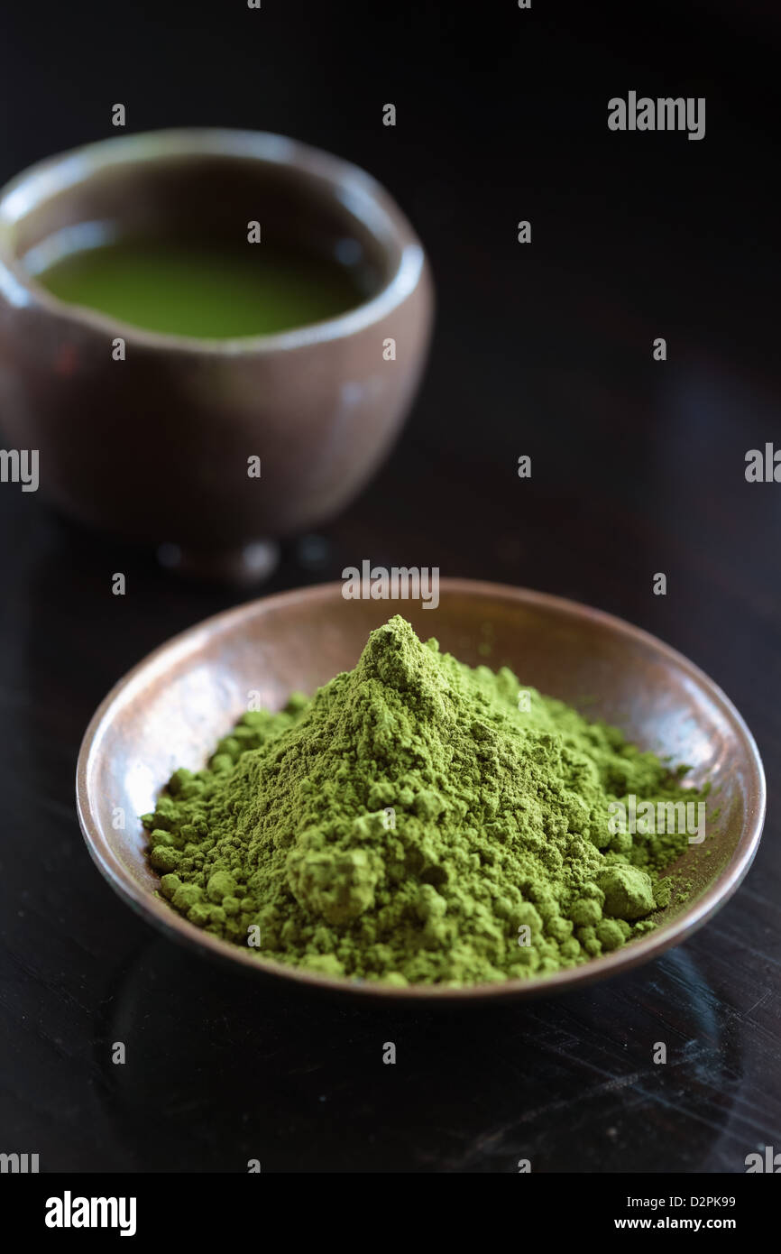 Powdered Green Tea, Matcha, Tea, - Stock Image