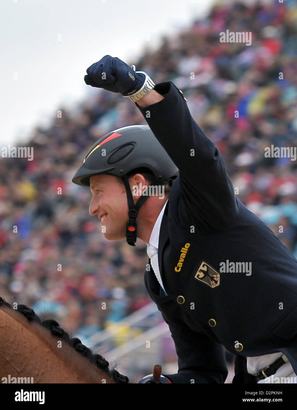 Michael Jung (GER) riding Sam celebrates. Equestrian Eventing - Stock Image