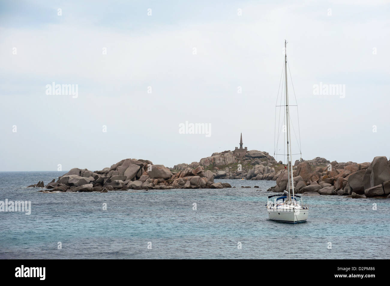 yacht anchored near Corsica island - Stock Image