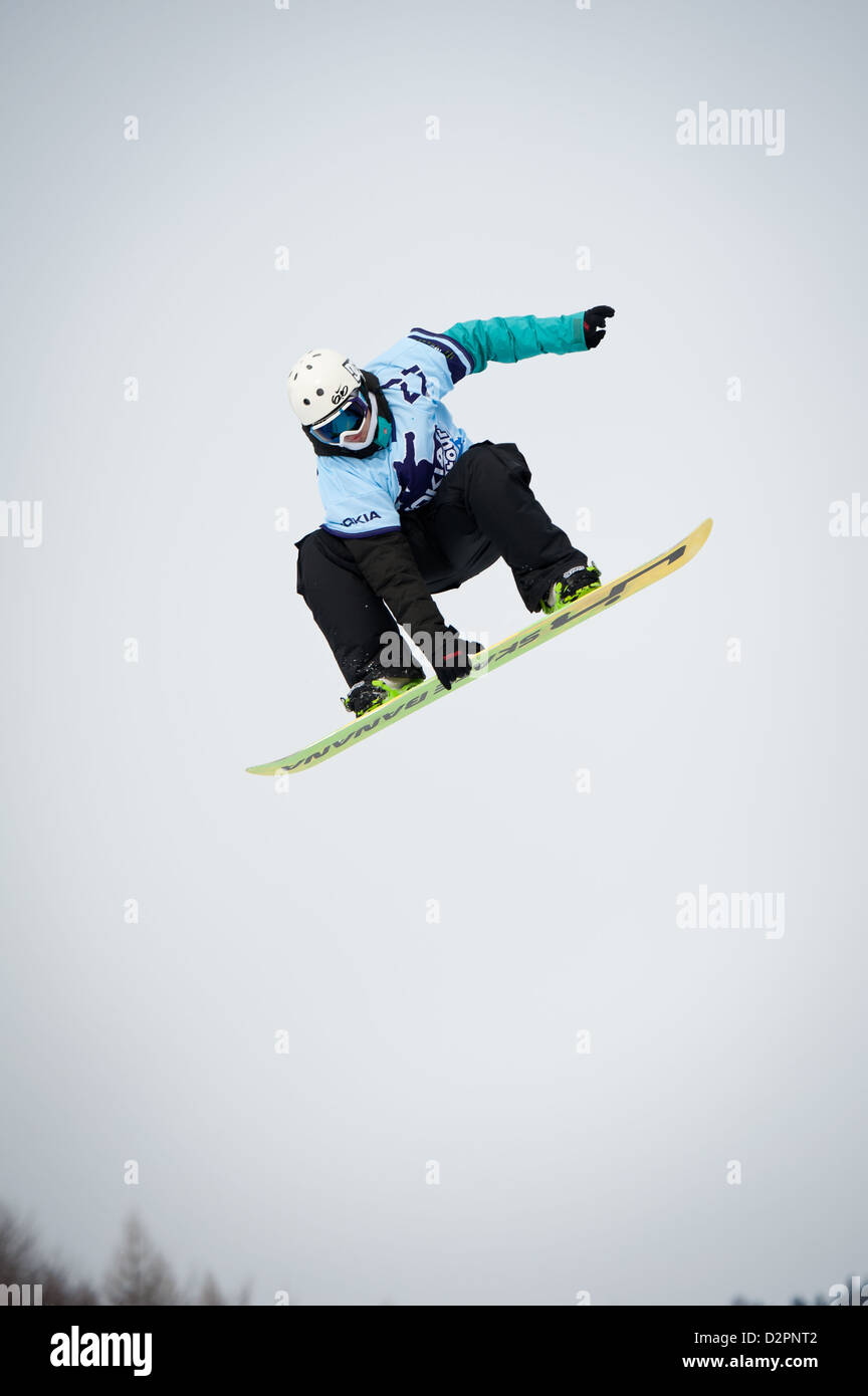 VALCA, SLOVAKIA - FEBRUARY 13: jump of Michal Husar at Nokia Freestyle Tour 2011 February 13, 2011 in Valca, Slovakia - Stock Image