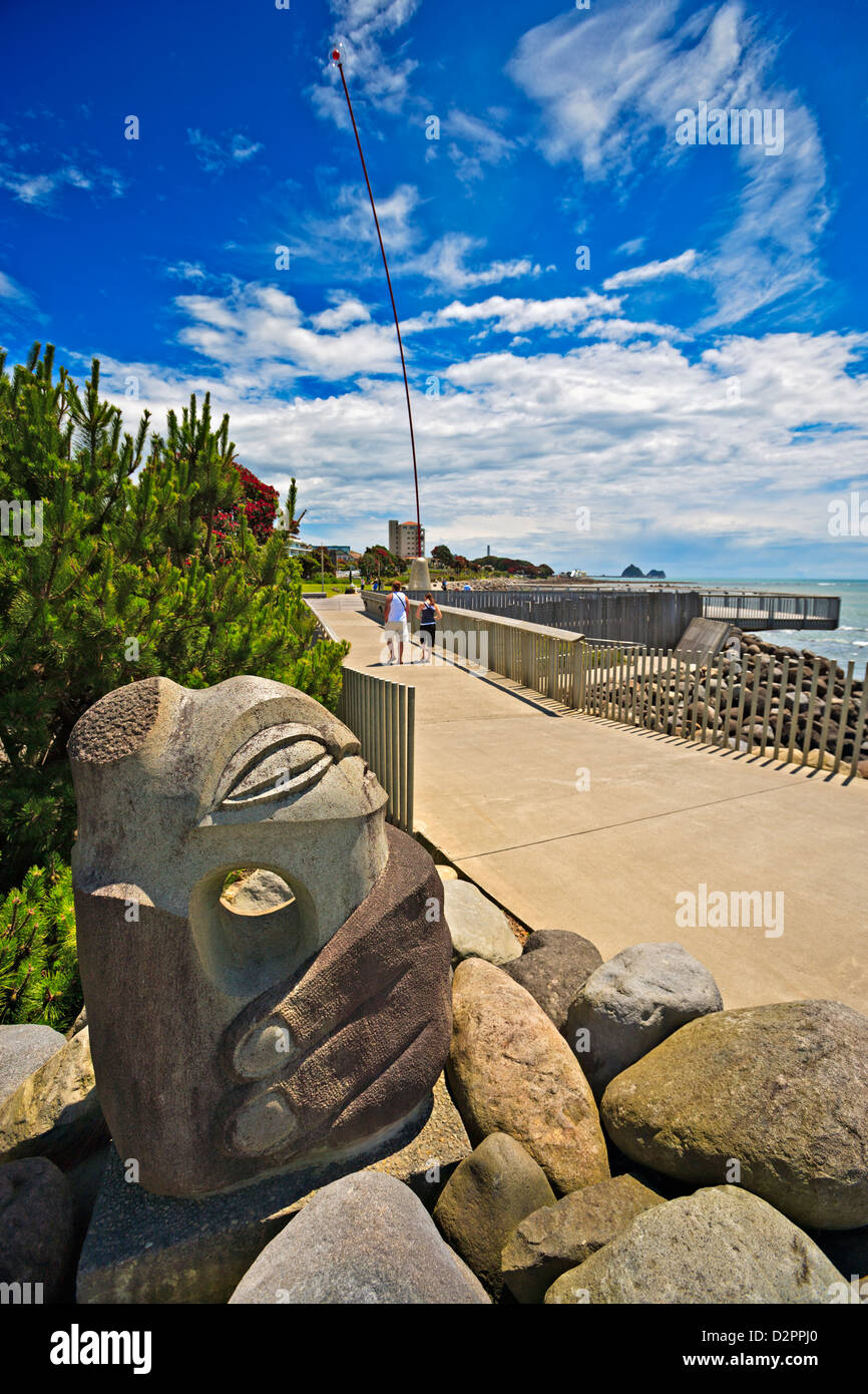 Stone sculpture called Anchor Stone by artist Filipe Tohi, along the Foreshore Coastal Walkway in New Plymouth, Stock Photo