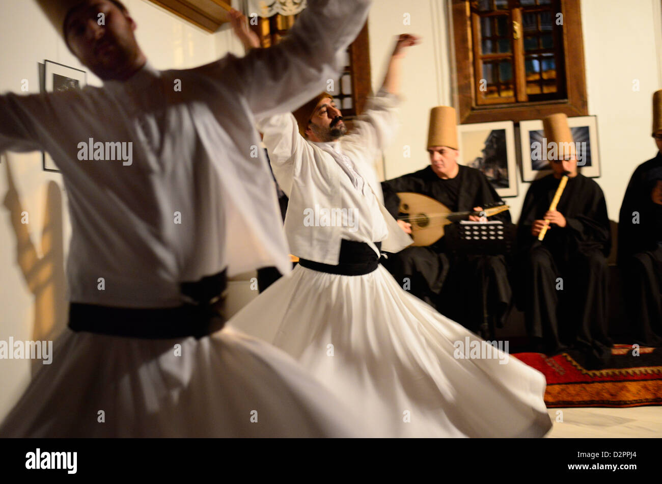 Whirling Dervishes in Turkey. - Stock Image