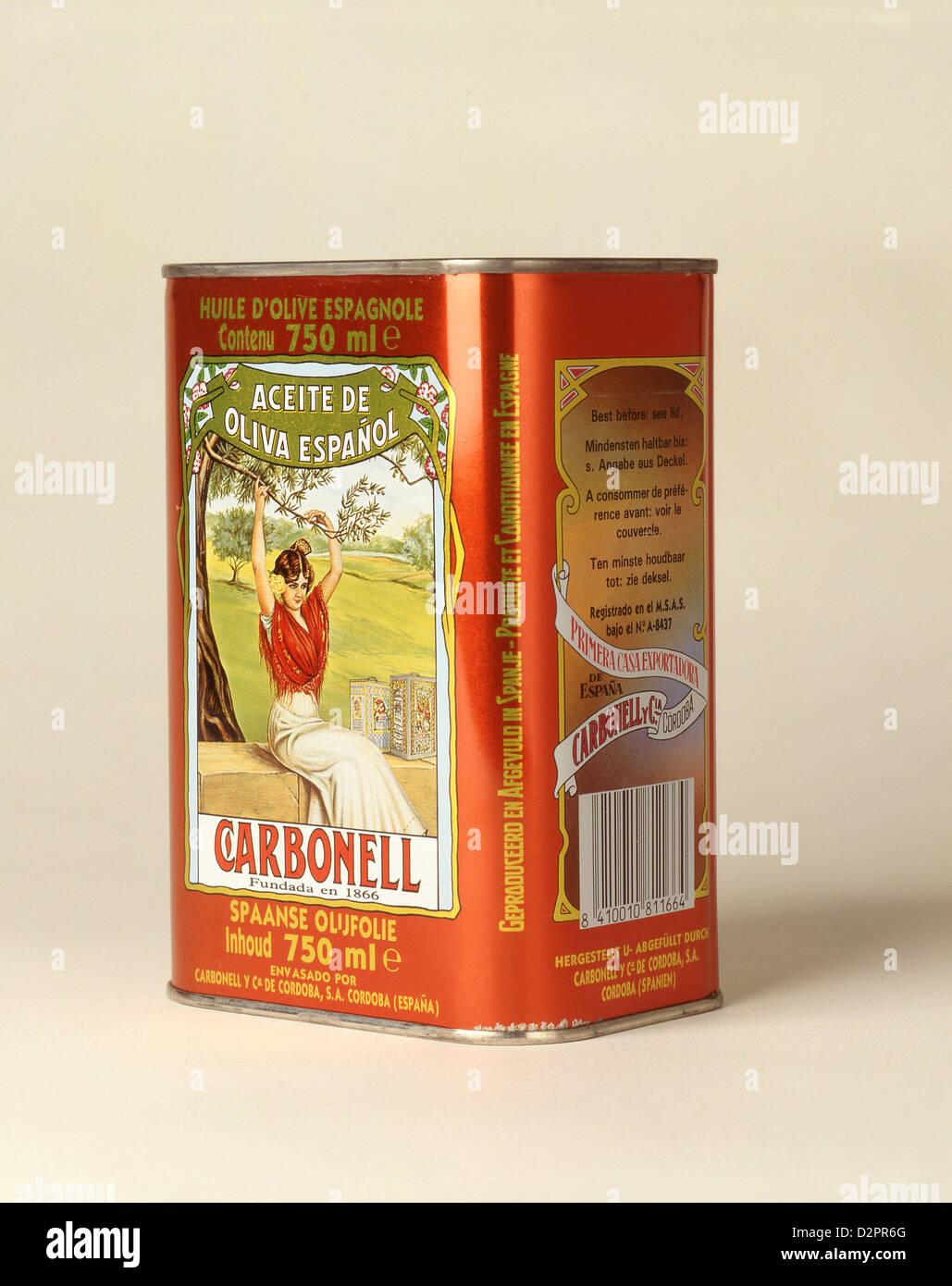 Tin of Spanish 'Carbonelle' olive oil, Costa del Sol, Malaga Stock