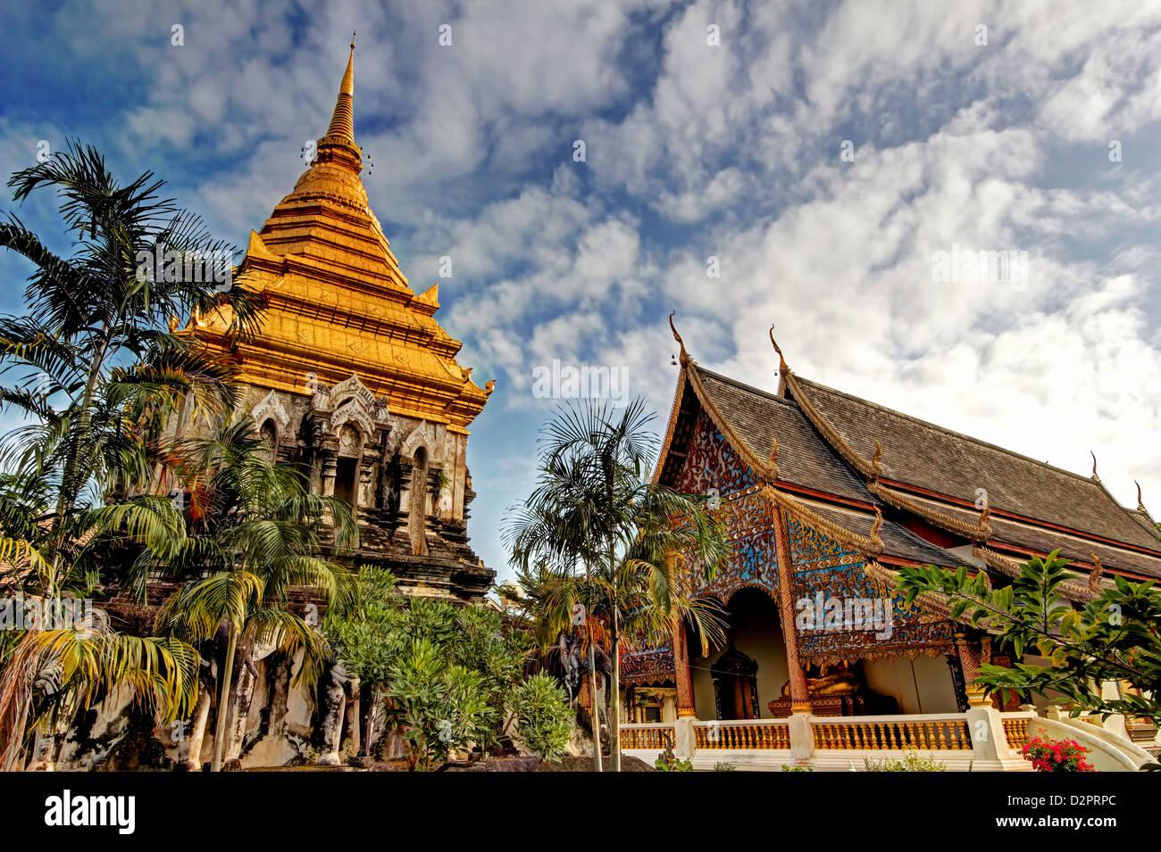 Chedi of Wat Chiang Man / Chiang Mai / Thailand - Stock Image