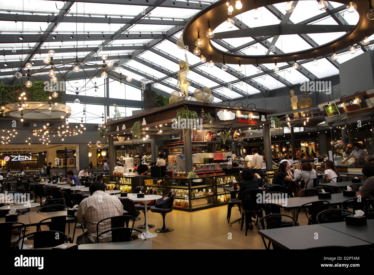 Food court in Siam Center Shopping complex , Bangkok , Thailand - Stock Image
