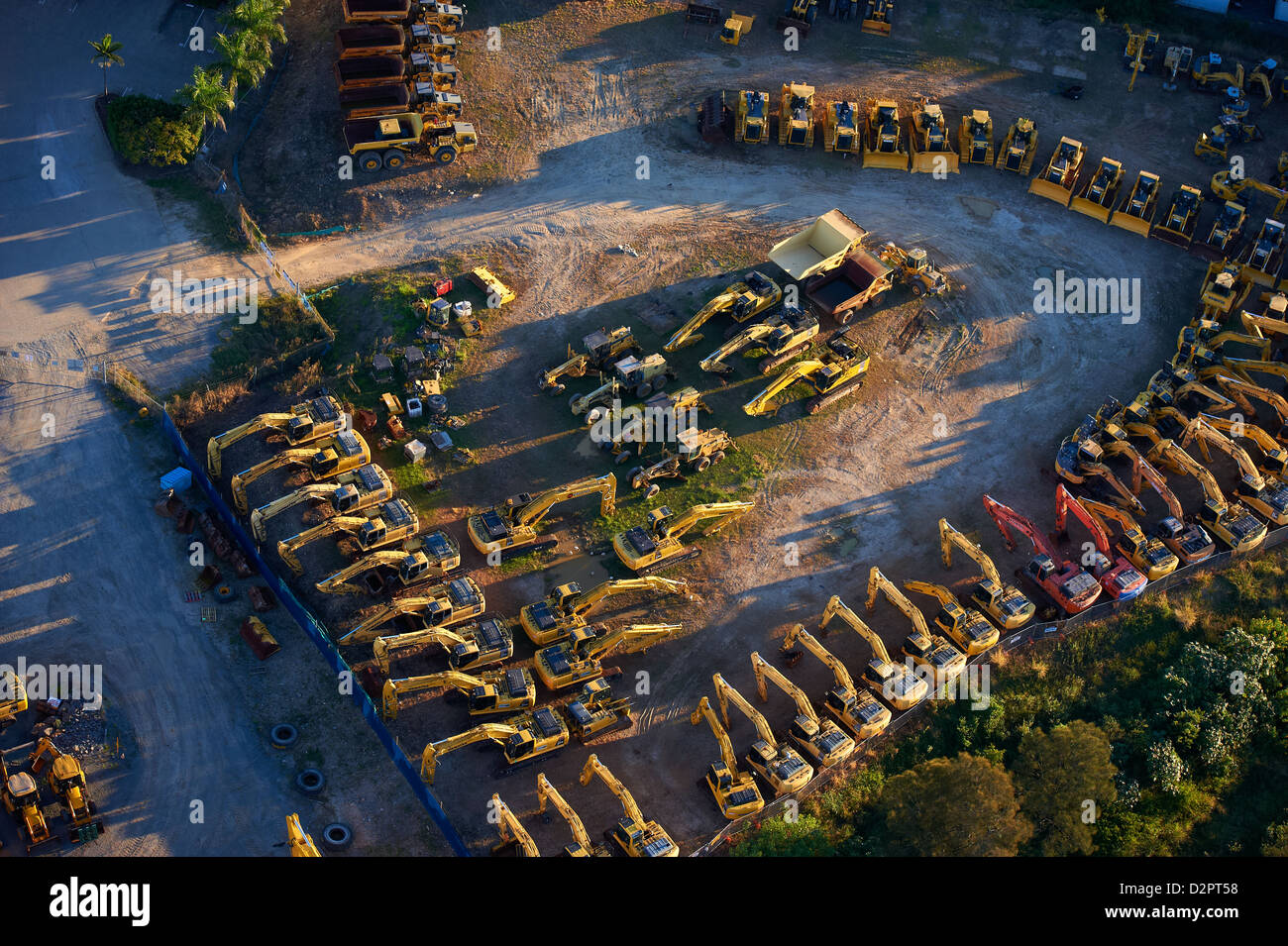 Aerial of earth moving machinery - Stock Image