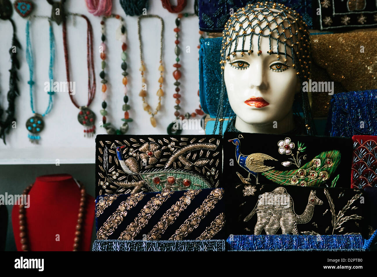 Showpieces with necklaces at a market stall, Delhi, India Stock Photo