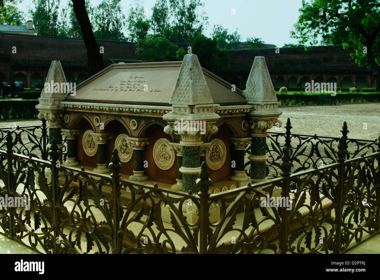 Tomb of John Russell Colvin in a fort, Agra Fort, Agra, Uttar Pradesh, India - Stock Image