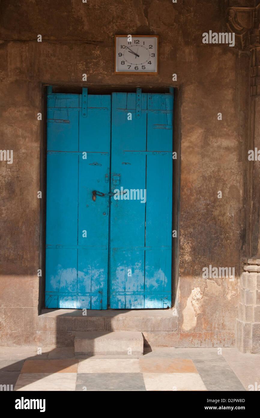 Door of a mosque, Sayad Sidi Mosque, Ahmedabad, Gujarat, India - Stock Image