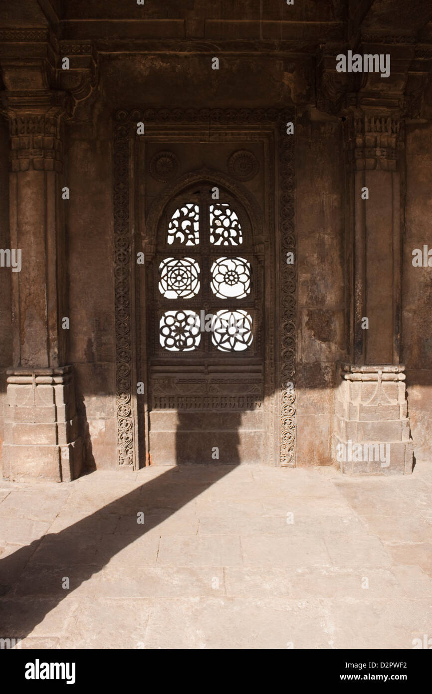 Architectural details of a mosque, Sayad Sidi Mosque, Ahmedabad, Gujarat, India - Stock Image