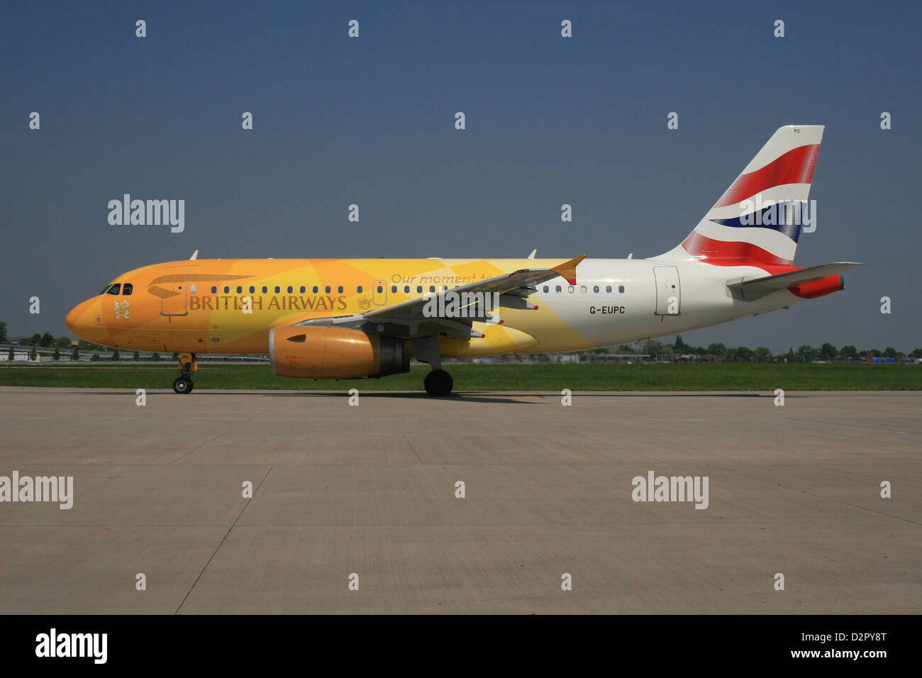 BRITISH AIRWAYS IAG OLYMPIC FIREFLY AIRCRAFT 2012 CARRIED OLYMPIC FLAME TO UK - Stock Image