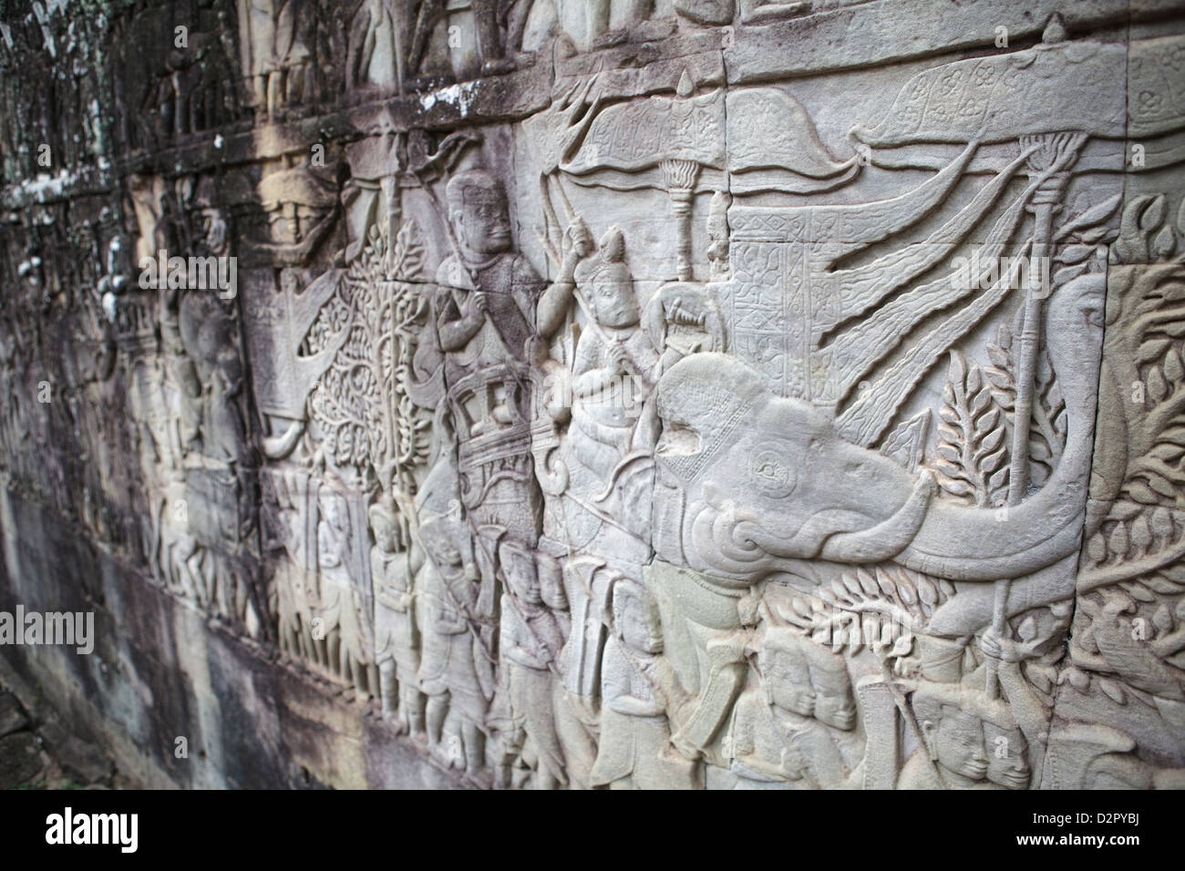 Carvings in stone depicting a king riding an elephant, Angkor Wat, Siem Reap, Cambodia, Indochina - Stock Image
