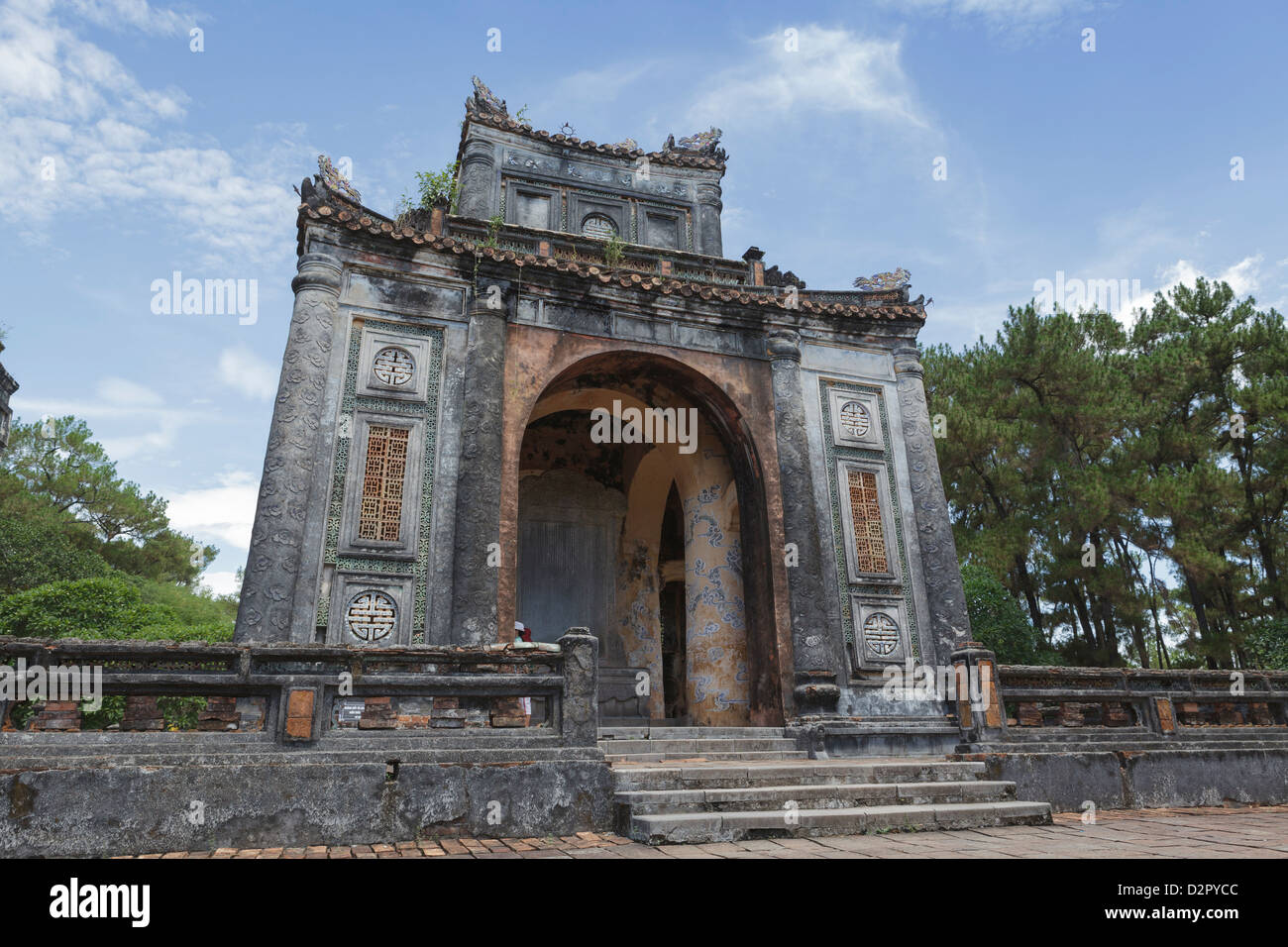 An archway at Tu Duc Royal Tomb, Hue, UNESCO World Heritage Site, Vietnam, Indochina, Southeast Asia, Asia - Stock Image